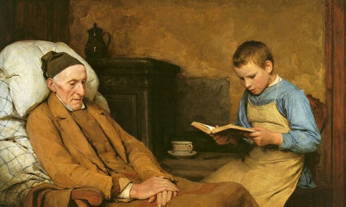 """""""Reading Devotions to Grandfather,"""" 1893, by Albert Anker. Oil on canvas; 24 3/4 inches by 36 inches. The Museum of Fine Arts Bern. (Public domain)"""