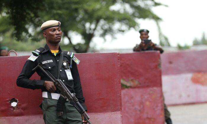 Policemen keep watch in Abuja, on Sept. 5, 2019. (Kola Sulaimon/AFP via Getty Images)