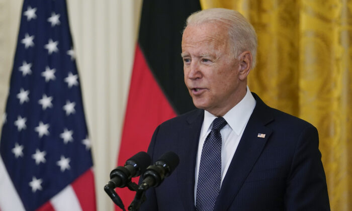 President Joe Biden speaks during news conference with German Chancellor Angela Merkel in the East Room of the White House in Washington, on July 15, 2021. (Susan Walsh/AP Photo)