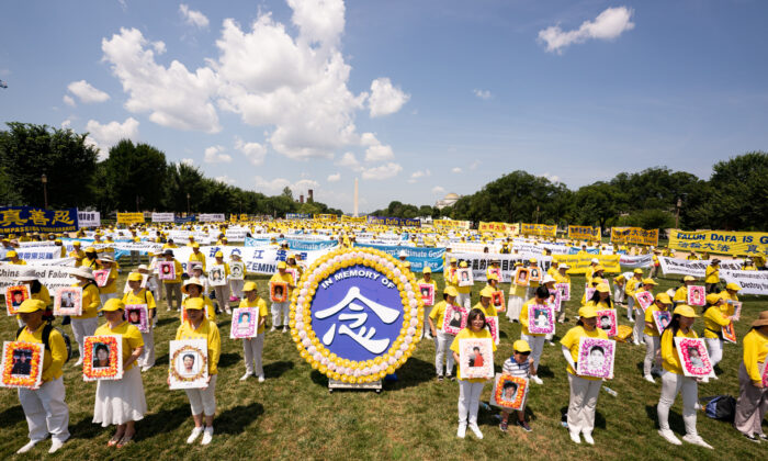 Falun Gong practitioners gather in Washington to mark the 22nd year of the persecution in China, on July 16, 2021. (Larry Dai/The Epoch Times)