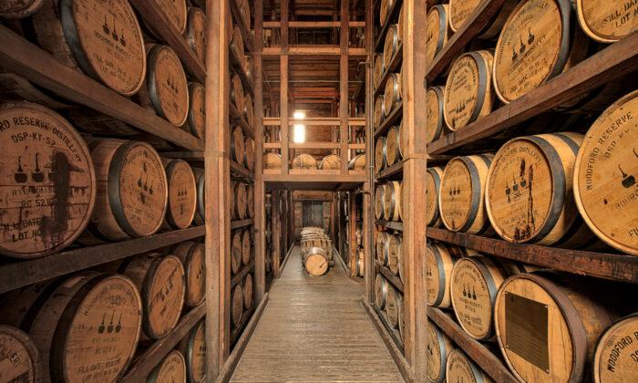 Bourbon is aged in barrels at Woodford Reserve Distillery in Versailles, Ky. (Danita Delimont/Shutterstock)