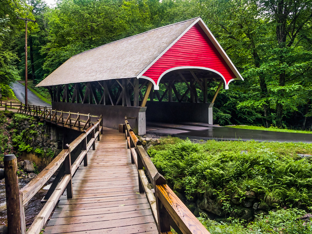 The,Flume,Covered,Bridge,Is,A,Paddleford,Truss,Design,Crossing