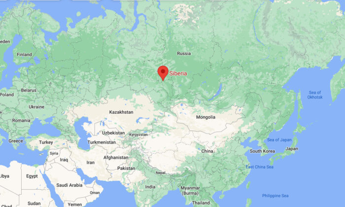 This screenshot shows the location of Tomsk region in western Siberia, where a Russian passenger plane went missing, Siberia, Russia, on July 16, 2021. (Google Map/Screenshot via The Epoch Times)