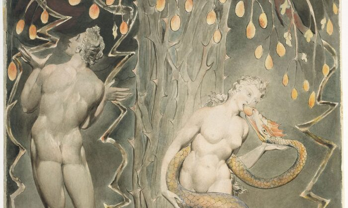 """""""The Temptation and Fall of Eve,"""" 1808, by William Blake. Illustration for John Milton's """"Paradise Lost."""" Museum of Fine Arts, Boston. (PD-US)"""