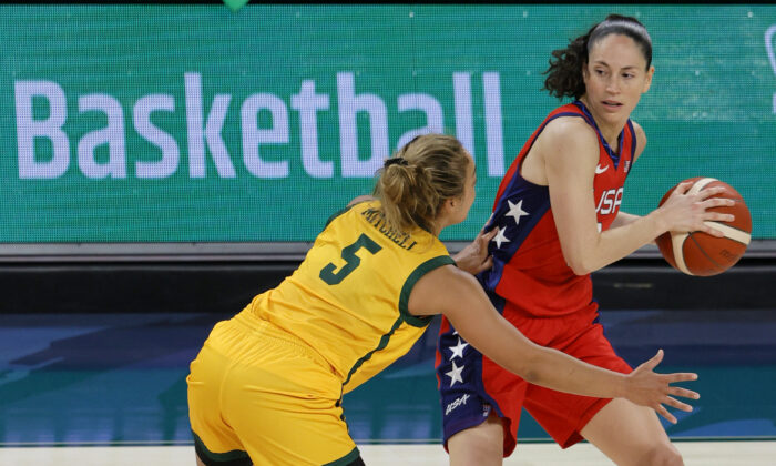 Sue Bird #6 of the United States is guarded by Leilani Mitchell #5 of the Australia Opals during an exhibition game at Michelob ULTRA Arena ahead of the Tokyo Olympic Games in Las Vegas, Nev., on July 16, 2021. (Ethan Miller/Getty Images)