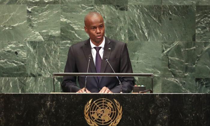 President Haiti Jovenel Moise addresses the United Nations General Assembly in New York City on Sept. 27, 2018. (John Moore/Getty Images)