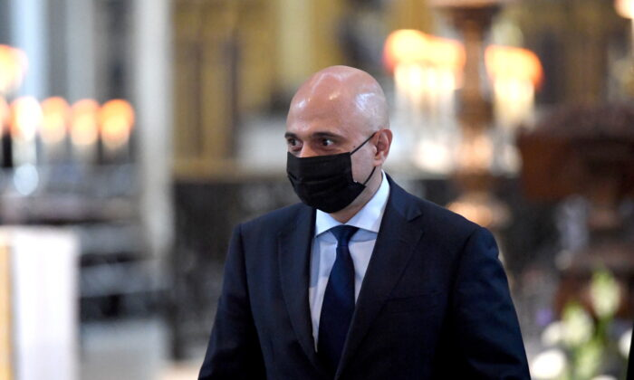 Britain's new Health Secretary Sajid Javid arrives for a thanksgiving service to celebrate the NHS' birthday, in St Paul's Cathedral in London, on July 5, 2021. (Stefan Rousseau/Pool via Reuters)