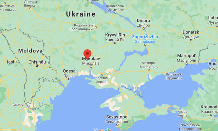 This screenshot shows the location, where a Mi-2 helicopter crashed and caught fire near the village of Zaive in the southern Mykolaiv region, south of the Ukrainian capital of Kyiv, on July 17, 2021. (Google Map/Screenshot via The Epoch Times)