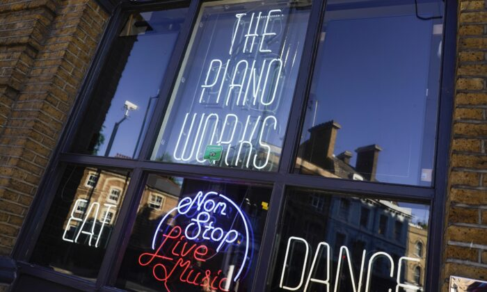 The Piano Works club in Farringdon, London, on July 16, 2021. (Alberto Pezzali/AP Photo)