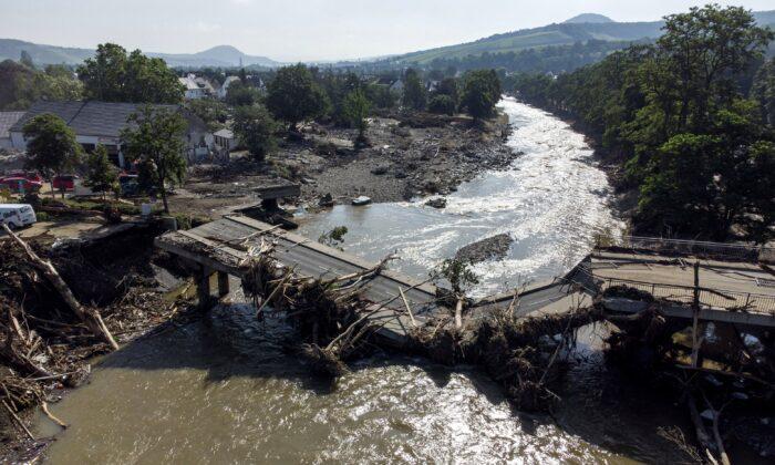 A destroyed bridge over the Ahr in Ahrweiler, western Germany, on July 18, 2021. (Boris Roessler/dpa via AP)