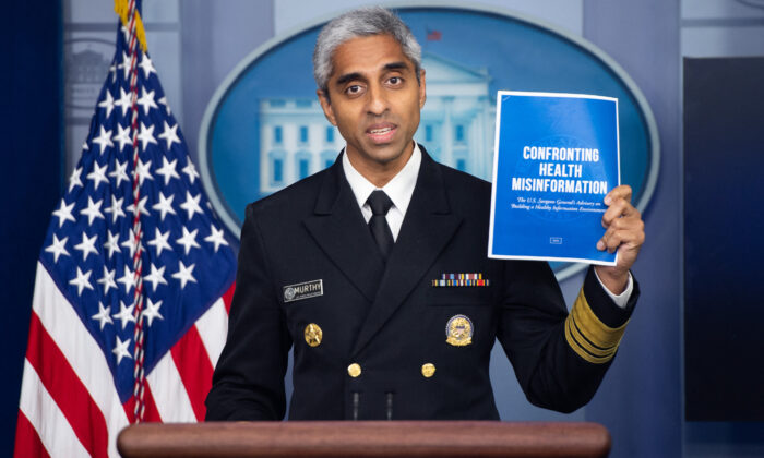 Surgeon General Dr. Vivek H. Murthy speaks during a press briefing in the Brady Briefing Room of the White House in Washington on July 15, 2021. (Saul Loeb/AFP via Getty Images)