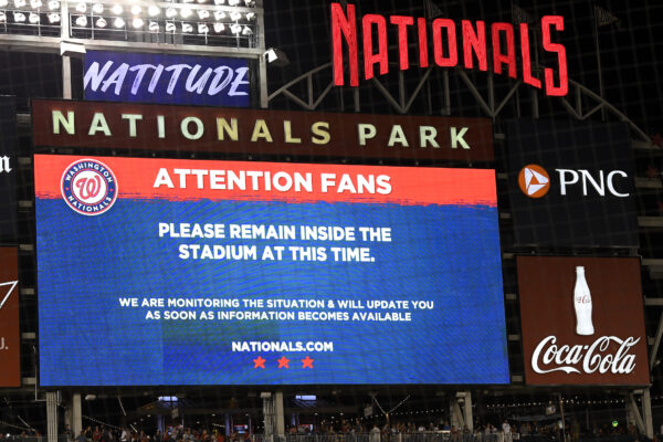 The scoreboard displays a message to fans