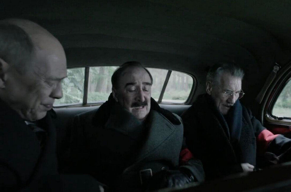 Three men in a car in The Death of Stalin