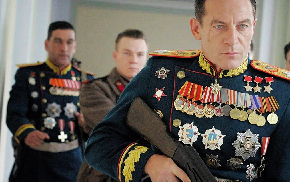 Military man with rifle in The Death of Stalin
