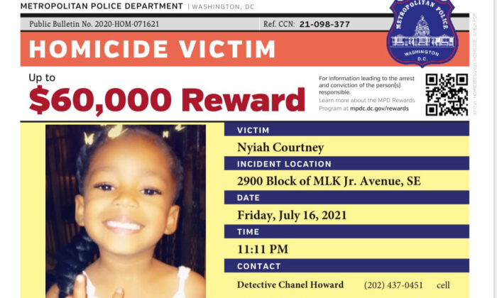 A notice with a $60,000 reward offered by the police after a 6-year-old girl was killed in a shooting in Washington on July 16, 2021. (Metropolitan Police Department)