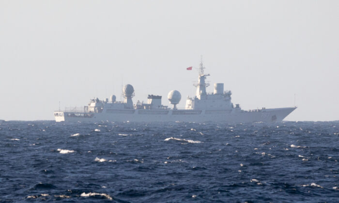 People's Liberation Army (Navy) General Intelligence Ship Tianwangxing (AGI-797) transits through the Arafura Sea, approximately 40 nautical miles north of the Tiwi Islands on July 10, 2021. (Australian Department of Defence)