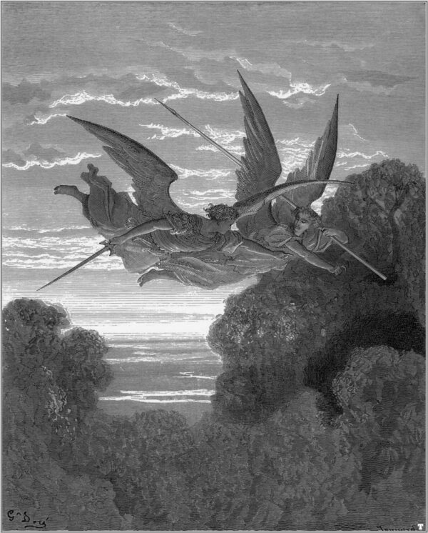 angels looking for satan