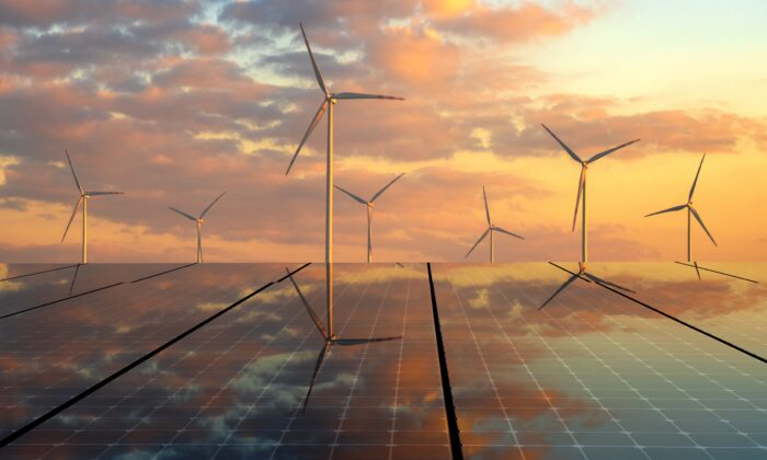 Photovoltaic panels and wind turbines. (Mike Mareen / Adobe Stock)