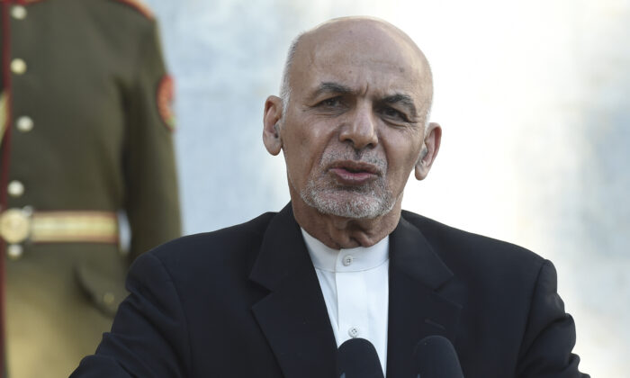 Afghan President Ashraf Ghani speaks during a joint press conference with Pakistan's Prime Minister Imran Khan (not pictured) at the Presidential Palace in Kabul on November 19, 2020. (Photo by WAKIL KOHSAR / AFP) (Photo by WAKIL KOHSAR/AFP via Getty Images)