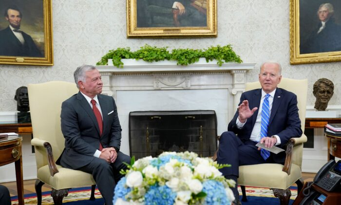 President Joe Biden (R) meets with Jordan's King Abdullah II (L) in the Oval Office of the White House in Washington, on July 19, 2021. (Susan Walsh/AP Photo)