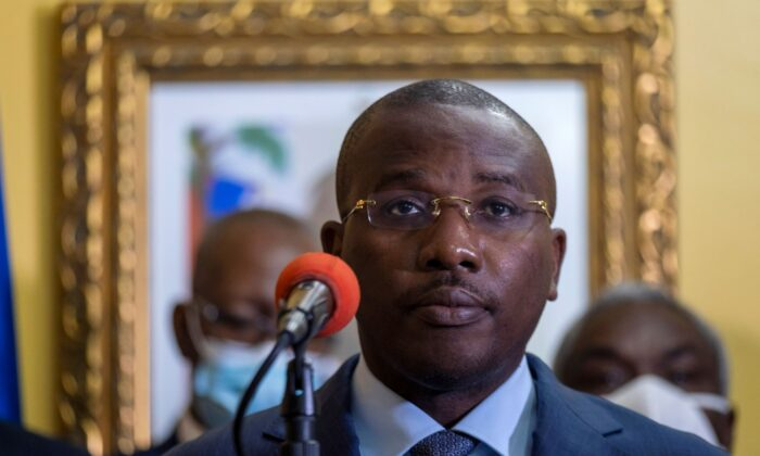 Interim Prime Minister Claude Joseph gives a press conference almost a week after the assassination of President Jovenel Moise, in Port-au-Prince, Haiti, on July 13, 2021. (Ricardo Arduengo/REUTERS)