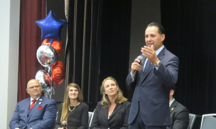 California gubernatorial election candidate Anthony Trimino speaks during a forum in Yorba Linda, Calif., on July 15, 2021. (Mei Li/The Epoch Times)