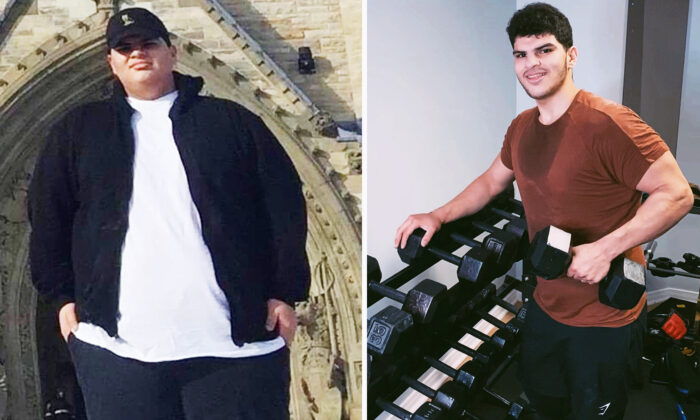 Omar Thaher from Mississauga, Ontario, before and after shedding the extra pounds. (Courtesy of Omar Thaher)