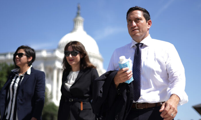 Texas state Rep. Trey Martinez Fischer, a Democrat, leaves after a news conference on voting rights outside the U.S. Capitol in Washington on July 13, 2021. (Alex Wong/Getty Images)