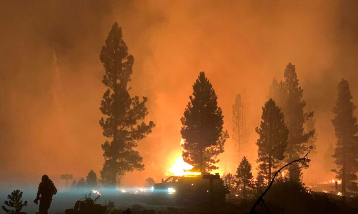 The Bootleg Fire burns at night in southern Oregon on July 17, 2021. (Bootleg Fire Incident Command via AP)