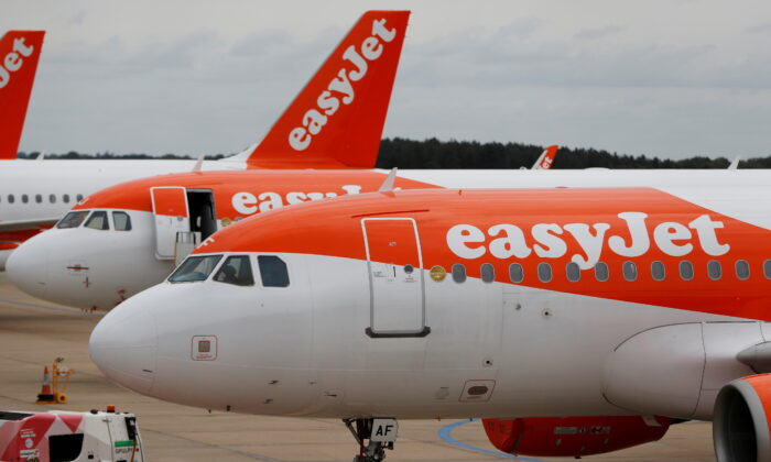 An Easyjet Airbus A319 plane is seen at Luton Airport, Luton, Britain, on June 4, 2020. (Paul Childs/Reuters)