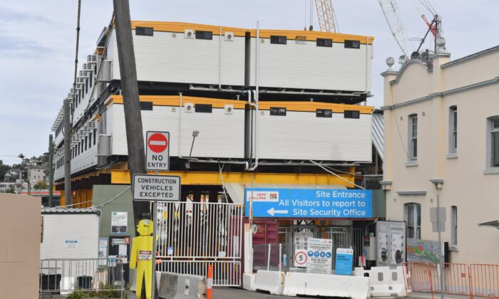 The Westconnex Rozelle interchange construction site is seen closed in Sydney, Australia, on July 20, 2021. (AAP Image/Mick Tsikas)