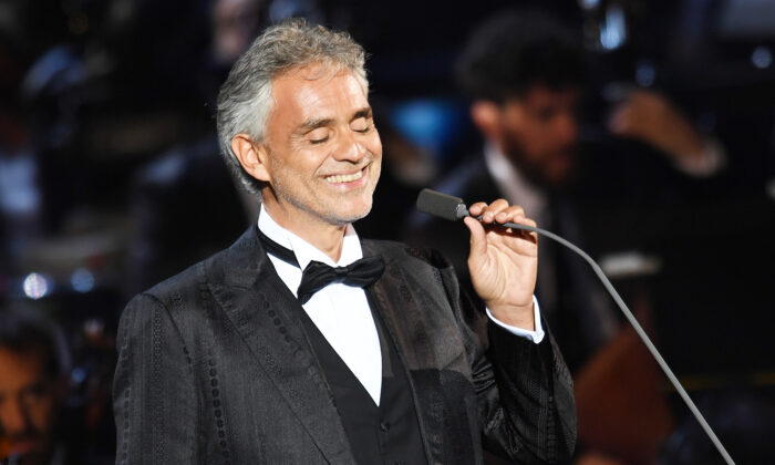 Andrea Bocelli performs at Bocelli and Zanetti Night on May 25, 2016 in Rho, Italy. (Francesco Prandoni/Getty Images for Bocelli & Zanetti Night)