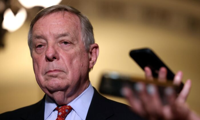 U.S. Sen. Richard Durbin (D-Ill.) waits to speak to reporters following a Senate Democratic luncheon at the U.S. Capitol in Washington on June 15, 2021. (Kevin Dietsch/Getty Images)