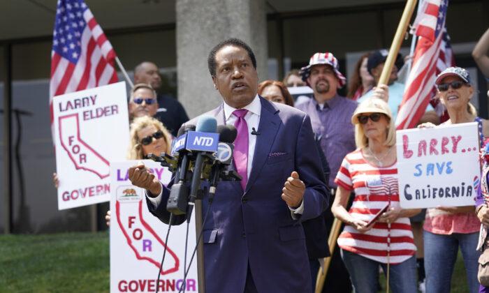 California gubernatorial hopeful Larry Elder speaks to supporters in Norwalk, Calif., on July 13, 2021. (Marcio Jose Sanchez/AP Photo)