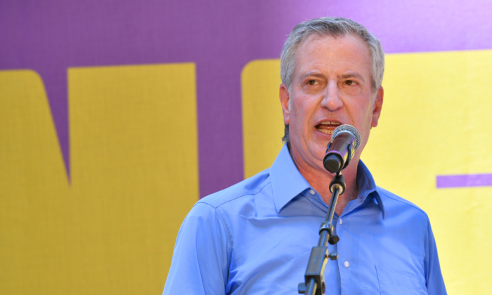New York City Mayor Bill de Blasio speaks at Let's Get This Show on the Street: New 42 Celebrates Arts Education on 42nd Street in Times Square New York City on June 5, 2021. (Bryan Bedder/Getty Images for New 42)