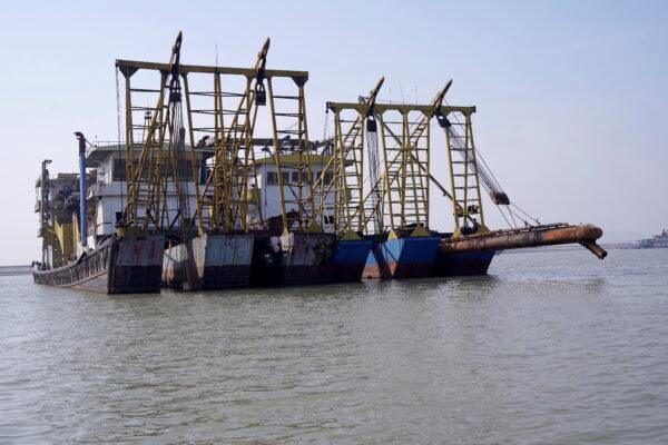 Sand-dredging boats