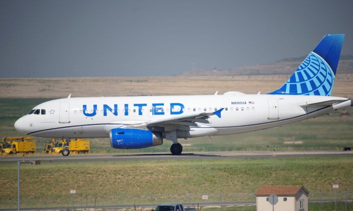 A United Airlines jetliner taxis down a runway for take off from Denver International Airport in Denver on Friday, July 2, 2021. (AP Photo/David Zalubowski, file)
