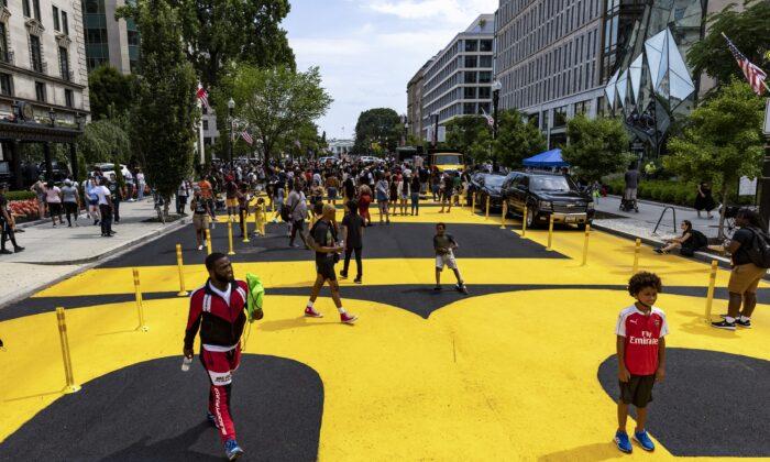 People celebrate Juneteenth at Black Lives Matter Plaza in Washington on June 19, 2021. (Tasos Katopodis/Getty Images)