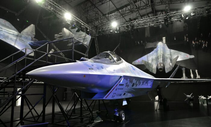 Checkmate, new Sukhoi fifth-generation stealth fighter jet is seen during an opening ceremony of the MAKS-2021 air show in Zhukovsky, outside Moscow, Russia, on July 20, 2021. (Sputnik/Alexei Nikolskyi/Kremlin via Reuters)