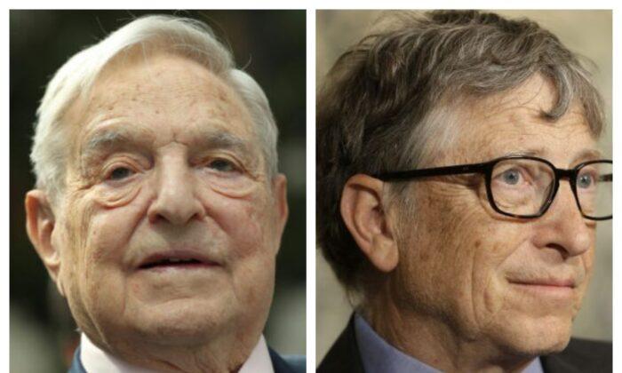Financier George Soros on June 8, 2017 in a file photo. (L) Bill Gates in a February 2016 file photo. (R) (Sean Gallup/Getty Images; AP Photo/Seth Wenig)