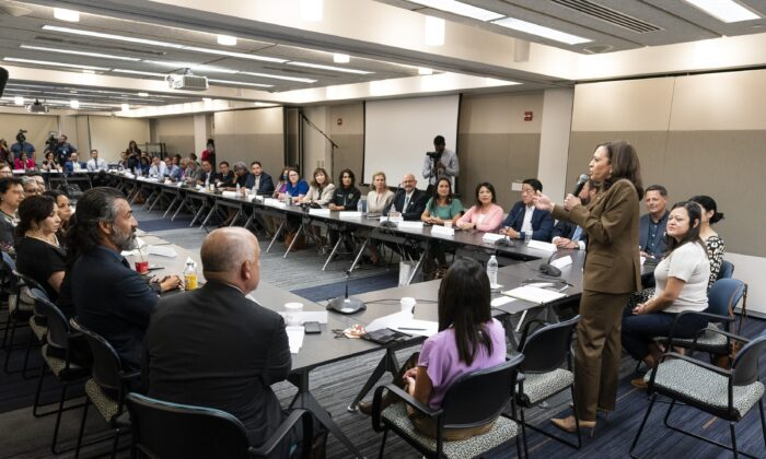 Vice President Kamala Harris meets with Democrats from the Texas state legislature at the American Federation of Teachers in Washington on July 13, 2021. (Alex Brandon/AP Photo)