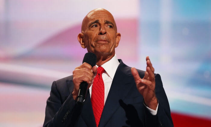 Thomas Barrack speaks during the Republican National Convention at the Quicken Loans Arena in Cleveland, Ohio on July 21, 2016. (John Moore/Getty Images)