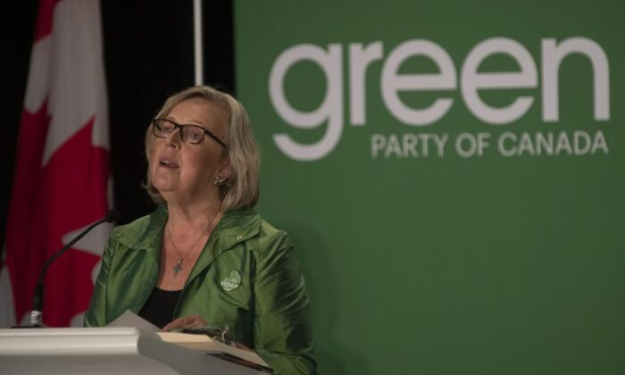 Former Green party leader Elizabeth May speaks ahead of the party's leadership announcement in Ottawa, on October 3, 2020. (The Canadian Press/Adrian Wyld)