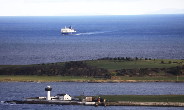 A P&O ferry from Scotland crosses the Irish Sea making way towards the port at Larne on the north coast of Northern Ireland, on Jan. 1, 2021. (Peter Morrison/AP Photo)