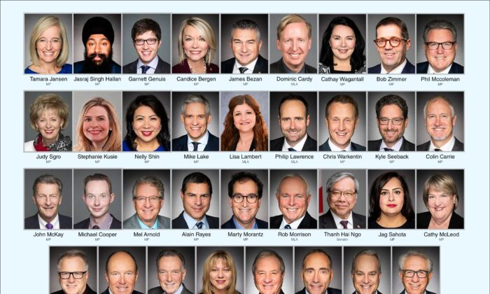 The 35 legislators who signed a joint letter to Prime Minister Justin Trudeau urging sanctions on Chinese officials instrumental in the persecution of Falun Gong adherents in China. The Chinese regime launched the persecution campaign on July 20, 1999.