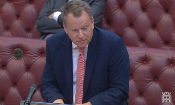 Brexit minister Lord David Frost making a statement to members of the House of Lords in London on July 21, 2021. (House of Lords via PA)