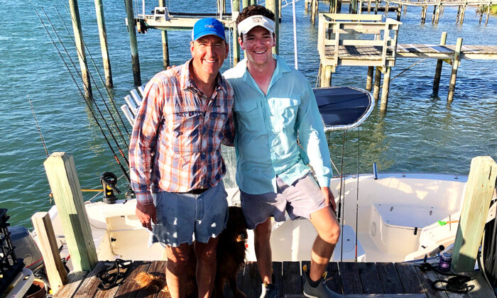 Andrew Sherman and his son, Jack, saved the missing captain of a runaway boat 40 miles off the North Carolina coast. (Courtesy ofJack Sherman)
