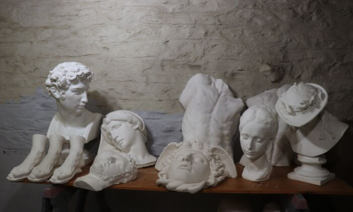 A selection of old-master plaster casts made by sculptor Justin Kendall ofFountainhead Gipsoteca, in Bushwick, Brooklyn, N.Y. (Courtesy of Justin Ryan Kendall)
