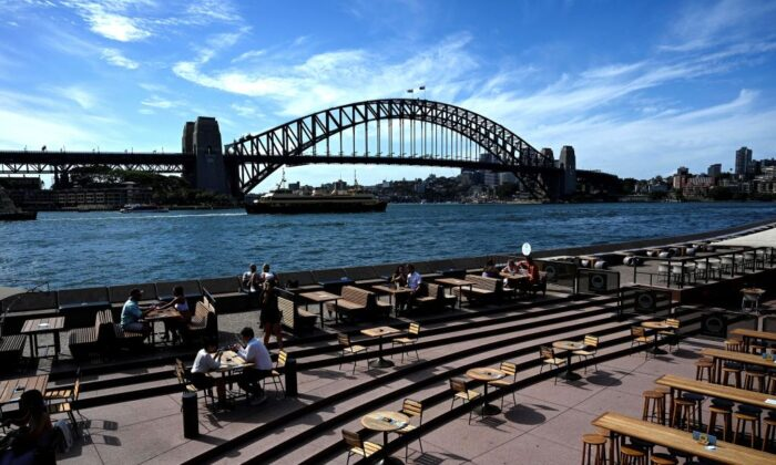 Seatings for restaurants are mostly empty along Sydney Harbour due to COVID-19 coronavirus concerns, in Sydney on December 24, 2020. (SAEED KHAN/AFP via Getty Images)