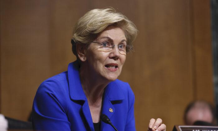 Sen. Elizabeth Warren (D-Mass.) speaks during a hearing on Capitol Hill in Washington on June 8, 2021. (Evelyn Hockstein/Getty Images)